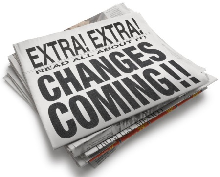 A newspaper reading Changes Coming