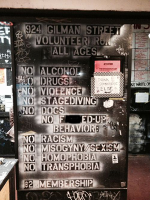 All-ages club 924 Gilman Street urges patrons to drink somewhere else
