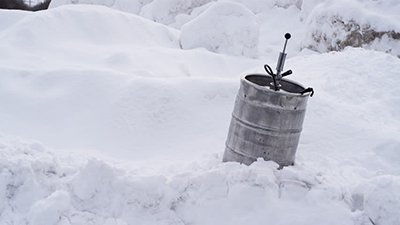 A keg in the snow