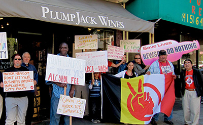 Alcohol harm advocates protesting Gov. Newsom's wine store