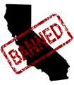 an outline of california with a BANNED stamp on it