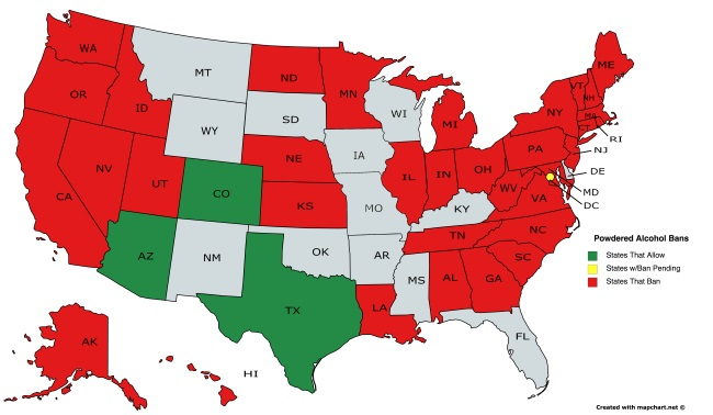 Palcohol regulation state by state as of October 20 2016