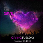 A purple heart in the sky for Giving Tuesday on November 29