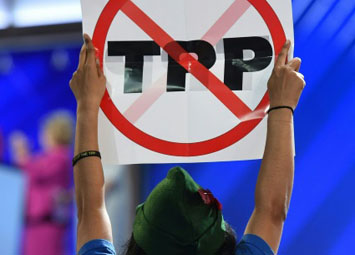 A protestor with a Robin Hood hat holds up a no-TPP sign