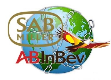 SABMiller and AB Inbev with a world covered in chains